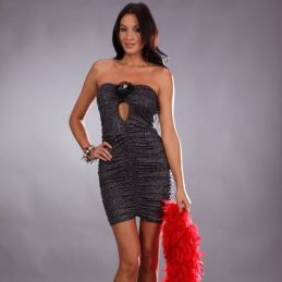 Robe bustier grise Promo Robes Fashion CV-70435-G Lerotika