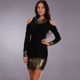 Robe noire et or Promo Robes Fashion CV-70371 Lerotika