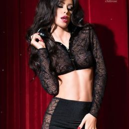 Ensemble dentelle noir Chilirose Jupes & Tops Sexy CR-4046 Lerotika
