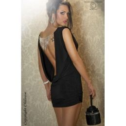 Robe noire dos nu Chilirose Robes Fashion CR-3216-N
