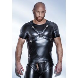 Tee Shirt Powerwetlook Harness H041 - XL Noir Handmade Exclusive T-shirts BDSM 2200077000400 Lerotika