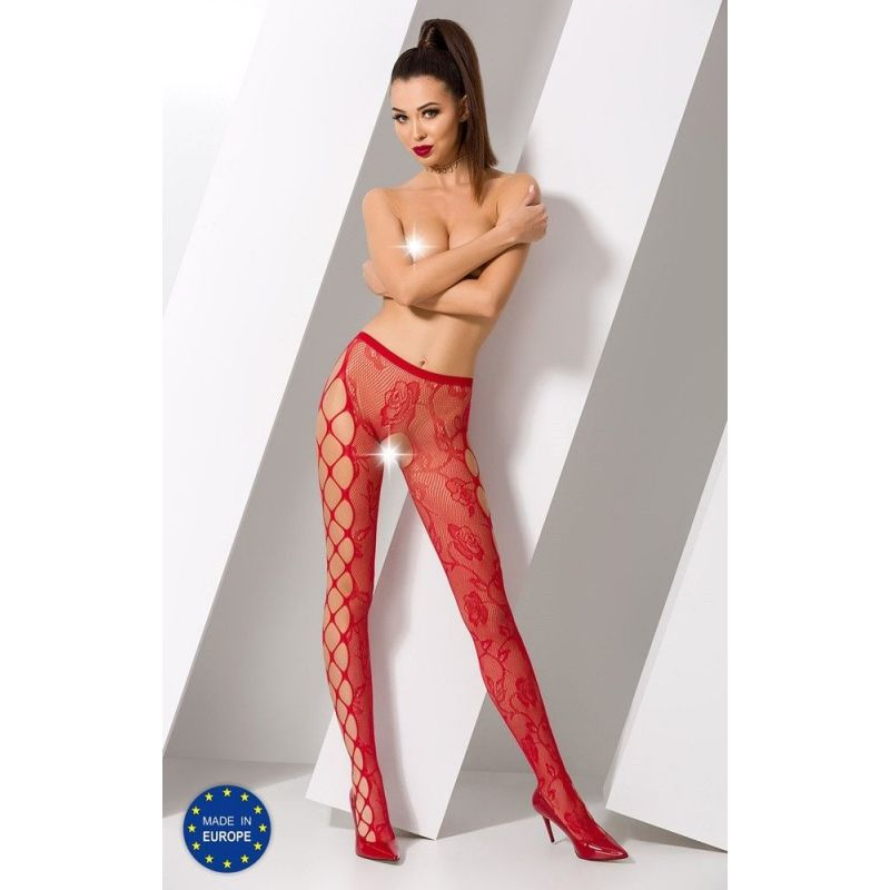 Collant Rouge Sexy S008 - TU Passion Collants Ouverts 3700430000500 Lerotika