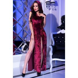Robe fendue velours bordeaux Chilirose Robes Fashion CR-4302-R Lerotika