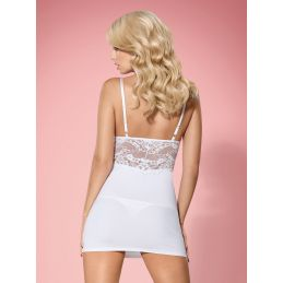 810-CHE-2 Nuisette blanche string Obsessive